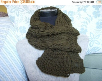 SALE Forest Green Lacey Knit Scarf Openweave Dark Military Green Cowl