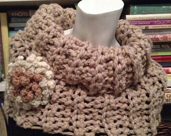 SALE Taupe Slouchy Soft Ribbed Cowl, Chunky Beige Neck Warmer with Statement flower brooch
