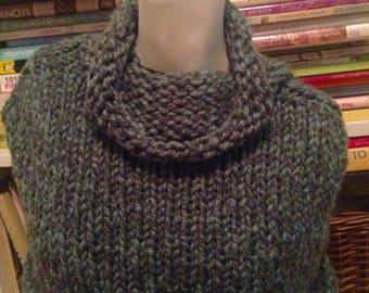 Heathered Evergreen Handknit Capelet Wrap Shawl