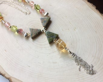 Unikite and Citrine Citrus Beaded Bib Necklace, Peach and Green Pendant and Silver Tassle, Multi Gemstone Jewelry, Abstract Fashion Necklace