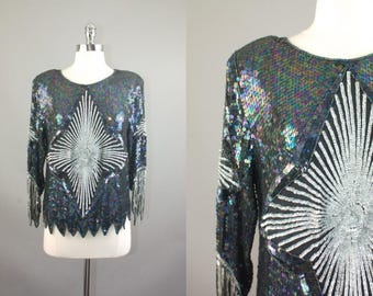 Vtg 80s Black / grey sequins / beads silk Big Star pattern blouse Deco trophy top  S/M