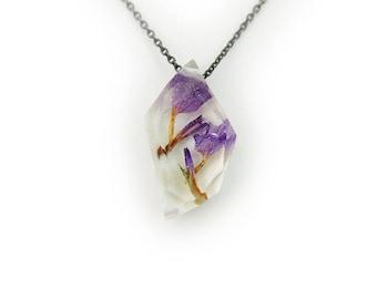 Geometric Purple Flower Resin Necklace • Nature Necklace • Eco Resin Preserved Flower Necklace • Terrarium Jewelry • Botanical Jewelry
