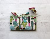Cactus pencil case - cactus zipper pouch - teachers gift idea - bullet journal pen - bujo accessories - happy planner bag - planner pouch