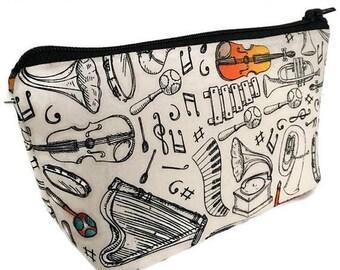 SALE small makeup bag, Band director gift, music teacher gift, cosmetic bag, organizer pouch,  girlfriend gift,  zipper bag, zipper pouch,