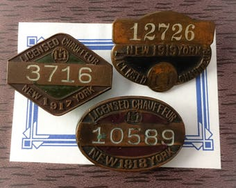 1pc NY CHAUFFEUR BADGE Antique Your Pick