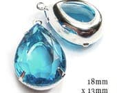 Sparkling sheer aqua blue glass teardrops - faceted rhinestones are 18mm x 13mm - great for pendants and earrings - and bridesmaids :-)