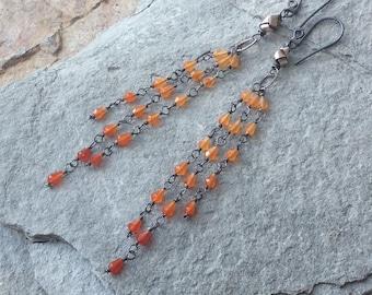 CARNELIAN earrings, Carnelian shoulder duster earrings, ombre earrings, sterling silver, orange gemstone earrings, handmade artisan jewelry