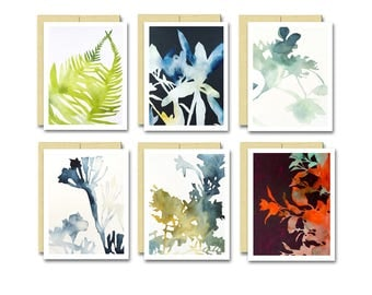 Watercolor Botanical Card Set / Blank Art Note Card Box Set of 6 Great Gift for Gardener and Plant Lovers
