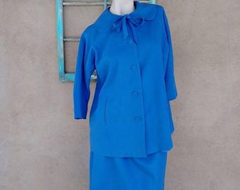 ON SALE Vintage 1950s Maternity Dress 50s Blue Wool Suit Jacket Skirt US 10