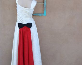 Vintage 1940s Dress 40s Evening Gown White Wedding Dress Bustle Bow Sz S B32 W27
