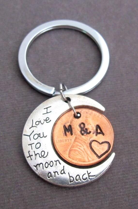 I Love You to the Moon and Back Keycain Keychain,Husband,wife, Boyfirend, girlfriend, Couples Gift,Penny Keychain, Free Shipping USA