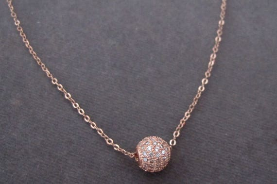 Rose Gold Necklace, Rose Gold Pave Crystal Diamante,Rose Gold Crystal Pave Ball Floating Necklace,Rose Gold Chain, Free shipping USA