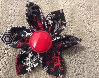 Black Red Snowflake Fabric Flower Brooch Pin