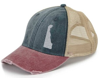 Distressed Snapback Trucker Hat -  Delaware off-center state pride hat - Many Colors available