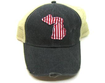 Clearance - Sale - Gift - Gracie Designs Hat - Michigan Red White Stripe applique snapback hat