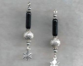 Obsidan & Silver Earrings