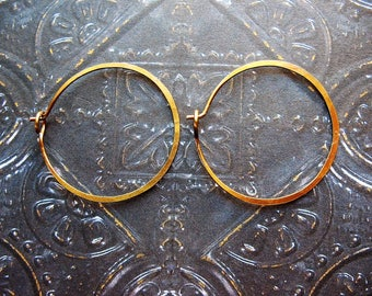 Antiqued Brass Hammered Hoops - 1 pair - 26mm