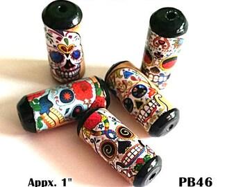 Unique Skull Beads -  Handmade Paper Tube Beads - - Set/5 -  PB46