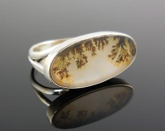 Dendritic agate sterling silver ring - size 8.5