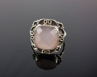 Pink chalcedony sterling silver ring - size 6.5