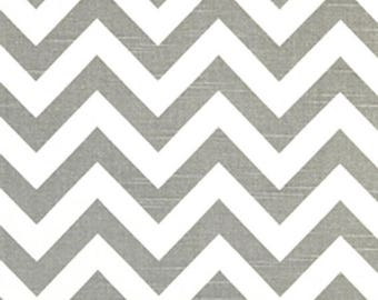 ON SALE - 10% Off Premier Prints Zig Zag Ash Gray White Slub Chevron Stripe Home Decorating Fabric BTY