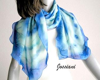 Lucite Blue Wrap, Light Blue Cerulean , Aqua Mint Sage, Hand Painted Silk, Scuba Turquoise, Petite Sheer Wrap, Unique Hand Dyed, Jossiani
