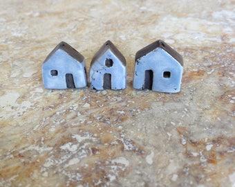 RESERVED, house beads,buildings,kiln fired,clay, raku, blue