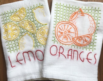 Vintage Fruit Embroidered Dish Towels - Lemons/Oranges