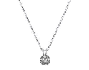 Swarovski Crystal Solitaire Necklace Sterling Silver Pendant Black Diamond or CHOICE OF COLOURS