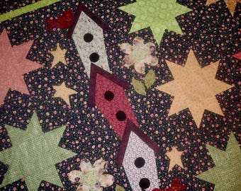 Quilt Top to Finish Stars Wonky Birdhouses and Birds 52 x 54 inches