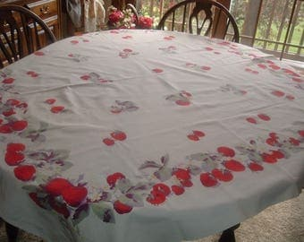 Vintage Tablecloth Strawberries Leaves Flowers 50 x 54 inches