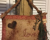Primitive Valentine Embroidery Hanging Pillow