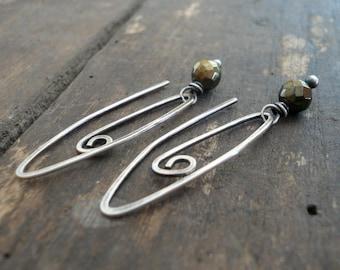 NEW Tittle - Handmade Earrings. Pyrite, Oxidized Sterling Silver Dangle Earrings