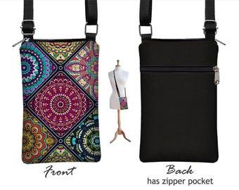cell phone case iphone 8 plus case, iphone 8 case hipster bag, cell phone purse, smartphone purse, bohemian bag, mandala blue purple RTS