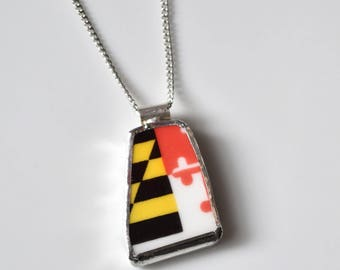 Broken China Jewelry Pendant - Maryland Flag