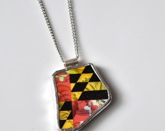 Broken China Jewelry Pendant - Floral Maryland Flag