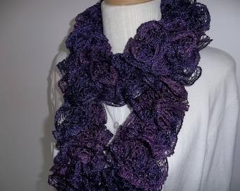 Knit Purple Ruffle Scarf, Womens Accessory,  Dark Purple Scarf, Long Ruffle Scarf,  Gift for Her, Fashion Ruffle Scarf