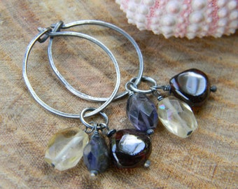 rustic silver hoops with garnet, citrine and iolite - earrings - oxidized silver