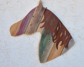 Horse Head Wall Hanging Reclaimed Barn Wood Rustic