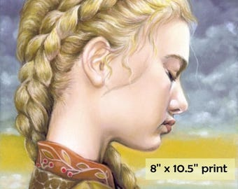 After the Storm -  surreal pop fantasy art portrait girl 8 x 10.5 inches print of original pastel painting by Tanya Bond
