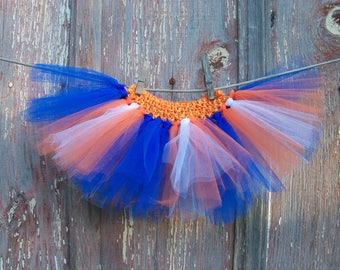 Size Newborn to 2T Baby or Small Dog Blue Orange White Tutu Ballerina Halloween Costume