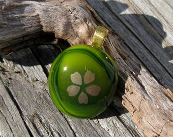 Green and Gold Flower Mini Pendant
