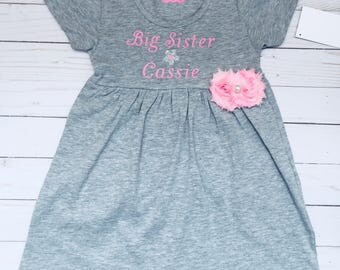 Big sister dress, personalized ( your childs nsme) in pink writing on cotton knit grey dress... options writing colors available -new baby
