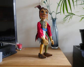 Wooden Carved Jester Marionette