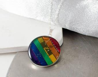 Computer Circuit Board Necklace Rainbow, Sterling Silver Necklace, Colorful Circuit Board Jewelry, Rainbow Necklace, Engineer Gift, Pride