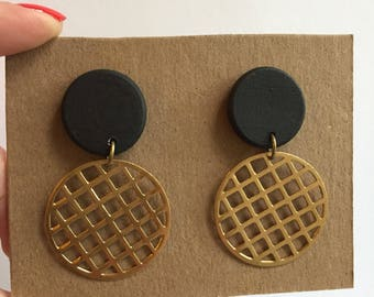 Black wood grid waffle earrings