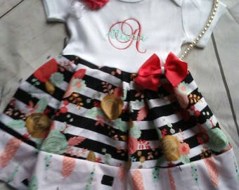 Baby girl coming home outfit, baby girl clothes, baby girl outfits, baby girl take home outfit, dress, newborn ress, headband, coral, baby