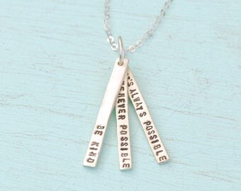 "Quote necklace, ""Be Kind Whenever Possible, It's Always Possible"" eco-friendly sterling silver charm by Chocolate and Steel."