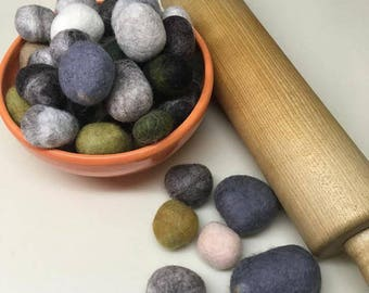 100% wool felted stones, set of 12