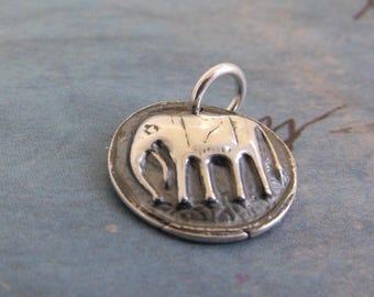 Silver Elephant Necklace, Animal Jewelry, Good Luck Charm, Silver Elephant Necklace, Talisman